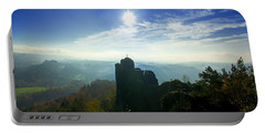 Autumn Sunrise In The Elbe Sandstone Mountains Portable Battery Charger