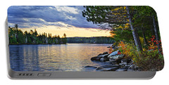 Autumn Sunset At Lake Portable Battery Charger