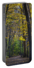 Portable Battery Charger featuring the photograph Autumn Trees Alley by Sebastian Musial