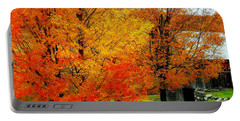 Portable Battery Charger featuring the photograph Autumn Trees By Barn by Rodney Lee Williams