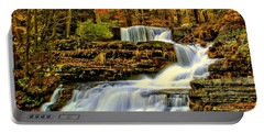 Autumn By The Waterfall Portable Battery Charger by Nick Zelinsky