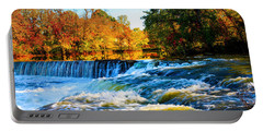 Amazing Autumn Flowing Waterfalls On The River  Portable Battery Charger