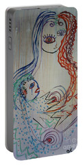 Portable Battery Charger featuring the painting Avi's Madonna by Avonelle Kelsey