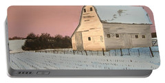 Award-winning Original Acrylic Painting - Nebraska Barn Portable Battery Charger