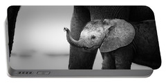Baby Elephant Next To Cow  Portable Battery Charger