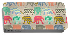 Baby Elephants And Flamingos Linen Portable Battery Charger