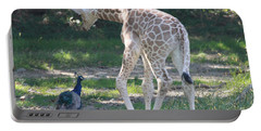 Baby Giraffe And Peacock Out For A Walk Portable Battery Charger by John Telfer