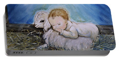 Portable Battery Charger featuring the photograph Baby Jesus Little Lamb by Nava Thompson