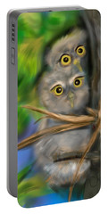 Portable Battery Charger featuring the digital art Baby Owls by Christine Fournier