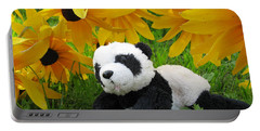 Baby Panda Under The Golden Sky Portable Battery Charger by Ausra Huntington nee Paulauskaite