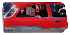 Portable Battery Charger featuring the photograph Back Seat Marilyn by Ed Weidman