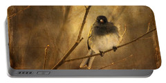 Backlit Birdie Being Buffeted  Portable Battery Charger by Lois Bryan