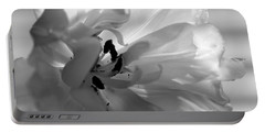 Backlit Black And White Tulip Portable Battery Charger