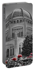 Bahai Temple Wilmette In Black And White Portable Battery Charger