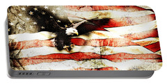Bald Eagle Bursting Thru Flag Portable Battery Charger