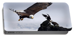 Bald Eagle In Flight Next To Ledge Portable Battery Charger