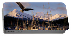 Bald Eagle In Flight Through Auke Bay Portable Battery Charger