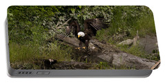 Portable Battery Charger featuring the photograph Bald Eagle-signed-#1249 by J L Woody Wooden