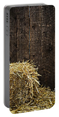Bale Of Straw And Wooden Background Portable Battery Charger