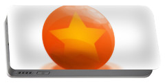 Portable Battery Charger featuring the sculpture orange Ball decorated with star white background by R Muirhead Art