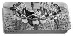 Ballet Rehearsal On The Beach Portable Battery Charger by Underwood Archives