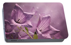 Portable Battery Charger featuring the photograph Balloon Flowers by Ann Lauwers