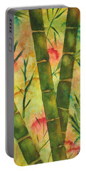Portable Battery Charger featuring the painting Bamboo Garden by Chrisann Ellis