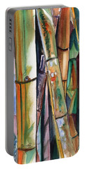 Portable Battery Charger featuring the painting Bamboo Garden by Marionette Taboniar