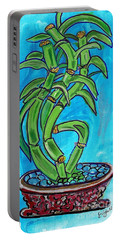 Portable Battery Charger featuring the painting Bamboo Twist by Ecinja Art Works