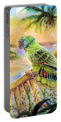 Banana Tree And Tropical Bird Portable Battery Charger by Bernadette Krupa
