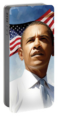 Barack Obama Artwork 1 Portable Battery Charger by Sheraz A