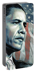Barack Obama Artwork 2 B Portable Battery Charger by Sheraz A