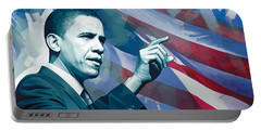 Barack Obama Artwork 2 Portable Battery Charger by Sheraz A