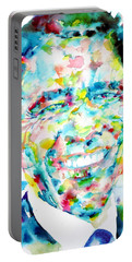 Barack Obama - Watercolor Portrait Portable Battery Charger by Fabrizio Cassetta