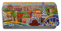 Barcelona Sunrise Light - View From Park Guell Of Gaudi - Square Format Portable Battery Charger