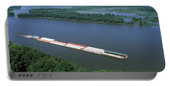 Barge In A River, Mississippi River Portable Battery Charger