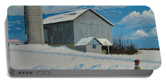 Portable Battery Charger featuring the painting Barn And Pheasant by Norm Starks