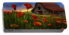 Barn In Poppies Portable Battery Charger by Debra and Dave Vanderlaan