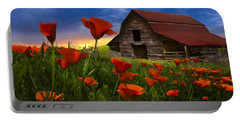 Barn In Poppies Portable Battery Charger