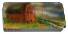 Portable Battery Charger featuring the painting Barn by Marisela Mungia