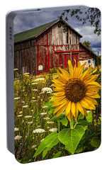 Barn Meadow Flowers Portable Battery Charger by Debra and Dave Vanderlaan