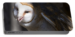 Barn Owl 1 Portable Battery Charger by Chris Flees