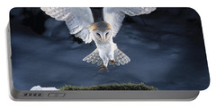Barn Owl Landing Portable Battery Charger by Manfred Danegger