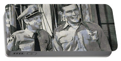 Barney Fife And Andy Taylor Portable Battery Charger by Paulette B Wright