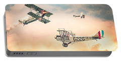 Portable Battery Charger featuring the photograph Barnstormers In The Golden Age Of Flight - Replica Fokker D Vll - Spad 7 - Curtiss Jenny Jn-4h by Gary Heller