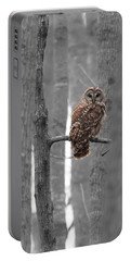 Barred Owl In Winter Woods #1 Portable Battery Charger by Paul Rebmann