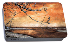 Portable Battery Charger featuring the photograph Barrier Beach - Old Woman Creek - Sunset by Shawna Rowe