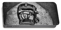 Baseball Catchers Mask Vintage In Black And White Portable Battery Charger by Paul Ward