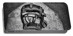 Baseball Catchers Mask Vintage In Black And White Portable Battery Charger