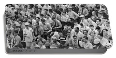 Baseball Fans In The Bleachers At Yankee Stadium. Portable Battery Charger by Underwood Archives